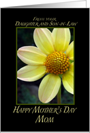 Mother's Day-Mom from Daughter and Son-in-Law yellow flower card