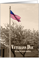 Veterans Day American Flag Vintage Look Sepia Tone card