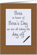 Boss's day card from employees humorous notepad and pen on desktop card