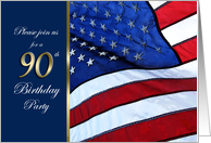90th Birthday Party Invitation Patriotic with flag of the United States of America card