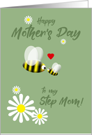 Mother's Day Cute Stepmom Cute Bee and Baby Bee with Daisies and Heart card
