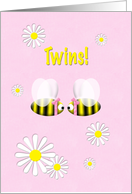 Twins Announcement Girls Cute Bees card