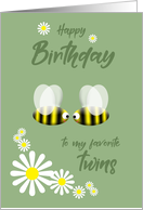 Happy Birthday Twins Two Cute Bees and Daisies card