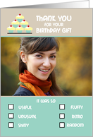Thank you Birthday Gift Photo Card Humorous Check Boxes List card