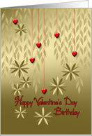 Happy Valentine's Day Birthday Gold Leaves and Red Hearts on a String card