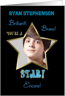 Congratulations You're a STAR! Photo Card Customize Name Blue card