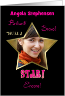 Congratulations You're a STAR! Photo Card Customize Name Pink card