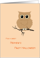 Nephew First Halloween Cute Owl on Tree Branch card