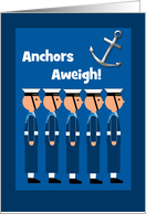 Passing Out Congratulations British Navy Sailors and Anchors Aweigh! card