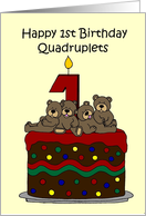 Quadruplets 1st birthday card
