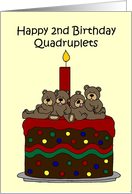 Quadruplets 2nd birthday card