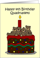 Quadruplets 4th birthday card