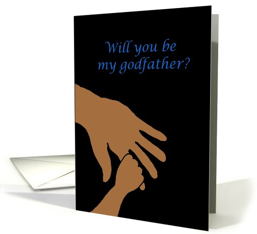 will you be my godfather in blue ethnic card (561133)