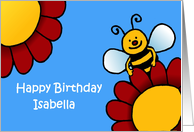 bee and flowers birthday Isabella card