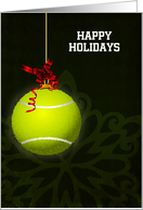 Hanging Tennis Ball Ornament with Red Bow Custom Text card