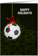 Hanging Soccer Ball Ornament with Red Bow Custom Text card