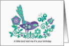 Little Bird Birthday in Purple card