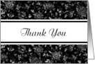 Thank You Black White Elegant Floral Damask Blank Inside card