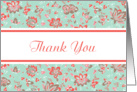 Thank You Pastel Aqua Coral Elegant Floral Damask Blank Inside card