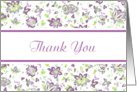 Thank You White Purple Green Elegant Floral Damask Blank Inside card