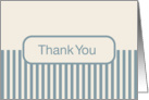 Off White Cream with Blue Stripes Blank Inside Thank You card
