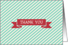 Cream Aqua Stripe with Red Ribbon Thank You card