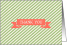 Cream Green Lime Stripe with Coral Ribbon Thank You Blank Inside card