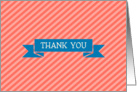Coral Orange Stripe with Bluel Ribbon Thank You Blank Inside card