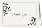 Cream and Black Vines and Leaves Thank You Blank Inside card