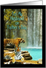 Husband on Father's Day, Tigers by Waterfall card