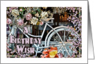 A Birthday Wish - Frog Prince with Bicycle and Roses card