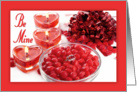 Be Mine - Valentine with Heart Candles, Bow and Ruby Ring card