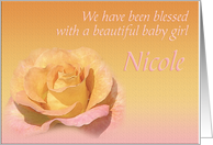 Nicole's Exquisite Birth Announcement card