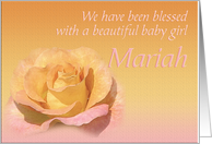Mariah's Exquisite Birth Announcement card