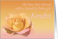 Kendra's Exquisite Birth Announcement card