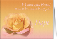 Hope's Exquisite Birth Announcement card