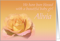 Alivia's Exquisite Birth Announcement card