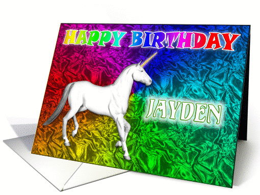 Jayden's Unicorn Dreams Birthday card (393259)