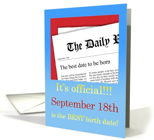 September 18th, BEST day for a Birthday card (411767)