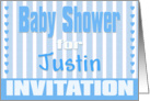 Baby Justin Shower Invitation card