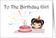 Birthday Girl Ponytails and Cake card