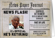 Retirement Party Invitation - Photo Insert - News Paper card