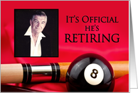 RETIREMENT - INVITATION - SURPRISE - BILLIARDS - PHOTO INSERT card