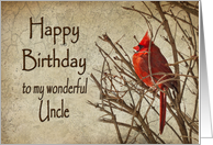 Birthday - Uncle - Red Cardinal - Branch - Textures card