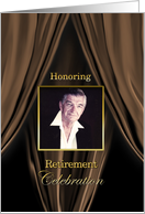 RETIREMENT Party Invitation - Brown Silk Curtains - Photo Insert card