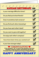 HAPPY ANNIVERSARY - Marriage Questionnaire - Humor card
