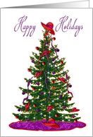 Christmas - Happy Holidays - red hat decorations on tree card