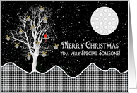 Christmas,For Special Someone, Black, White Designs - Decorated Tree card