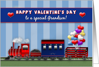 Valentine's Day - Grandson - Choo Choo Train Carrying Heart Balloons card