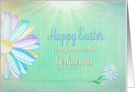 Easter - My Godparents - Large Gingham Daisy - Pastels card